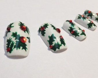 Fake Nails 3D Christmas Holly