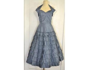 Vintage 1950's Dress // Steel Blue Taffeta Formal / Party / Prom Dress
