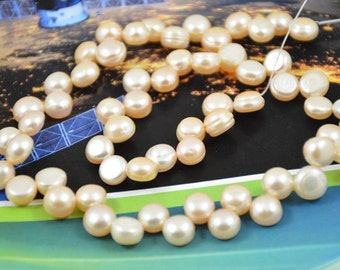 """Strand Natural Pink  Flat Freshwater Cultured Pearl Gemstone Beads 8mm Full One Strand 15"""""""