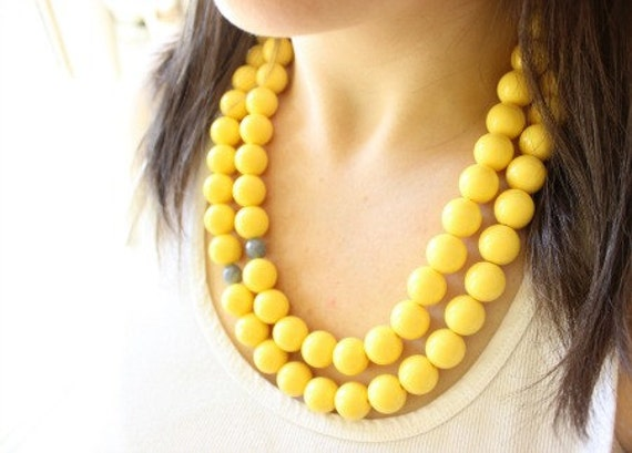 yellow statement necklace, yellow and gray necklace
