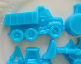 Baby showe favor - 40 Blue Construction Vehicle Soap - digger, truck, backhoe, tractor