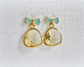 ON SALE Aqua bow and Glass Post Earrings