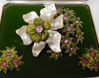 SANDOR Brooch & Earrings Set Enamel on Sterling Silver w/ Mother of Pearl Flower