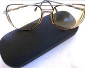 Mens Aviator Eyeglasses  With Black Case 1980s  Tinted