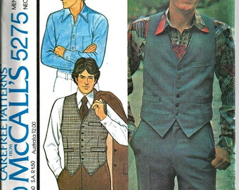McCall's Pattern 1970's Men's Shirt and Vest  5275 Size 38