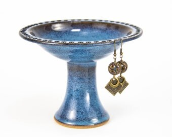 Petite Pedestal Earring Bowl in Celestial Blue glaze | Jewelry bowl / Earring Tree / Earring display / Great Bridesmaid gift