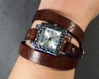 Wrap Around Leather Watch, Womesn Watch, Vinatge Leather Watch, Silver Watch, Leather Wrist Watch, Bracelet Watch, Leather Cuff Watch