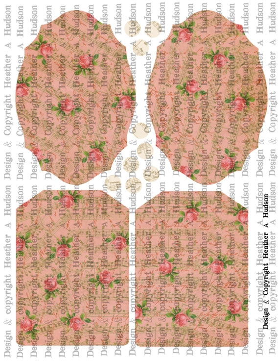 Romantic Roses Pink Music Victorian Vintage Valentine's Day Fancy TagDigital Collage sheet Printable
