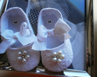 Baby Girl White Shoes, Christening, Baptism, Blessing, Dedication,White Shoes,Elegant, Fancy, Dressy Shoes, Newborn Shoes, Embroidery Shoes