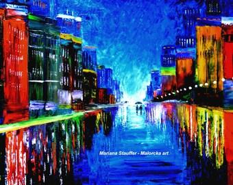 """cityscape paintings rain painting couple night street light rainy city oil on canvas textured 24x36"""" Mariana Stauffer Malorcka"""