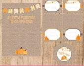 Little Pumpkin Baby Shower Theme Printable Mini Kit with Burlap Background, Pumpkins, Tent Cards and Thank You Tags