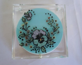 Vintage Lucite Compact Rex Fifth Avenue Hand Painted Flowers