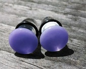 Lavender Button Single Flare 7/16 Inch glass gauged ear plugs earrings for stretched piercings