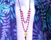 RED Glass beaded  Long Necklace.Maroon Tassle necklace.Boho Style Necklace
