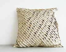 Beige and Brown , Frayed 3 Layer Poly Silk Cushion Cover with Texture, Pillow Cover, Decorative Pillow, Throw Pillow, Beige Textured Cushion