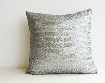 Gunmetal Silver Sequin Pillow Cover , Dark Silver Holiday Decor , Throw Pillow , Decorative Pillow