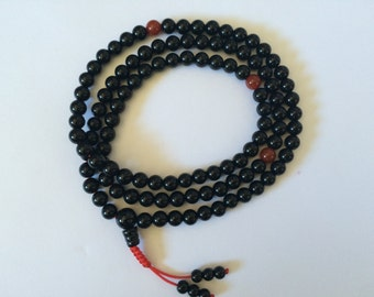 Tibetan Buddhist mala Black Onyx mala 108 beads for meditation