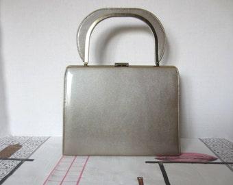 MOD Vintage Metal Flake Handbag, Mid-Century Purse, 60s 70s