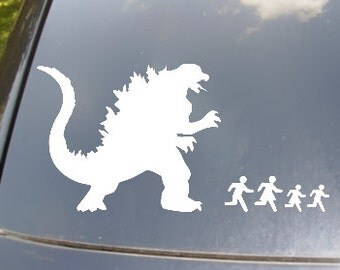 Godzilla Attack Family Car Sticker Set of 4