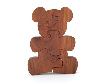 Wooden Teddy Bear Puzzle Waldorf Children's Toy Country Animal Puzzle Walnut Hand Cut Scroll Saw