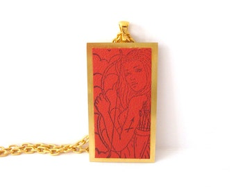 Sagittarius the Archer Necklace Zodiac Jewelry Rubber Stamped Leather Metal Base