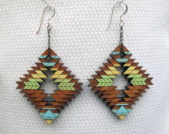 Tribal Abstract Earrings, Steens Mountains Lowlands, Large Wood Earrings