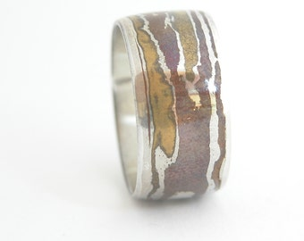 Mokume Wedding Band, Father's Day Gift, Unique Band, Mens Wedding Band, Mokume Gane, Silver Mokume, Unique Gift for Dad, Silver Wedding Band