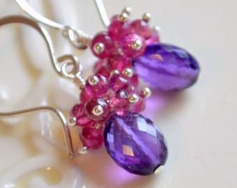 Genuine Amethyst Earrings, Pink Tourmaline Clusters, Purple and Hot Pink, Gemstone Jewelry, Sterling Silver, Free Shipping