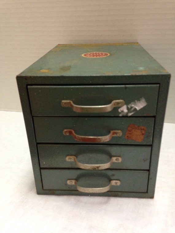 Vintage small green industrial metal tool box by ssmith7157 for Quality craft tool box