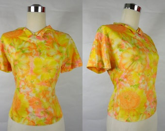 1950's/ 1960's Vintage Adelaar Yellow and Pink Blouse with Bows