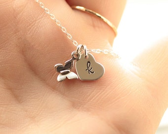 Tiny Butterfly Necklace, Flower Girl Gift, Sterling Silver, Initial Charm Necklace, Personalized Necklace, Heart Charm, Children's Necklace
