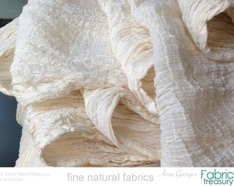 """Wholesale Fabric. Soft cotton fabric. Dyeable ORGANIC COTTON Fabric. Cotton Crepe 60s. 24"""" crinkled width / 48"""" stretched width. 10 yards."""