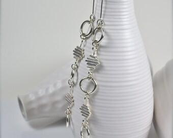 Silver Kinetic Earrings, One of a Kind Earrings