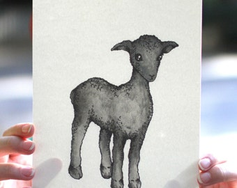 Watercolor/Ink-Realism-Animal-Black Sheep