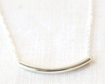 Sterling Silver Curved Tube Bar Necklace - Modern and Simple Everyday Jewelry