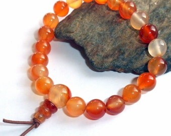 Orange Carnelian Mala Bracelet Gemstone Wrist Mala earthegy