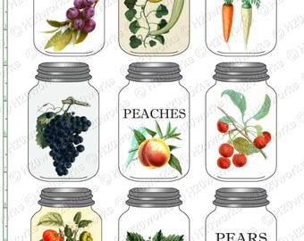 Mason Jars Fruits Vegetables Clipart  - Botanical, Vintage, FOOD,Tomatoes, Grapes, Canning, Preserving, Kitchen, Clip Art, INSTANT DOWNLOAD