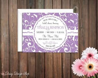 Bridal Shower Invitation - Damask Flourishes with Circle Frame