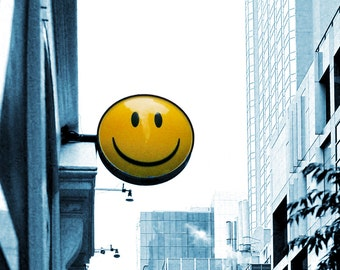 Smiley Face Photo, Melbourne Street Photo, Black and White Street, Yellow Smiley Sign Photo, Street, Melbourne, Smiley Face Sign, Film Photo