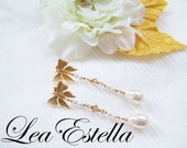 Swarovski Pearls/ Crystals Gold Butterfly Romantic Bridal Post Earrings - Garden Wedding