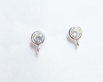 1 pair (2 pcs) Sterling silver stud earring findings with one loop, cz post earrings  (4mm)