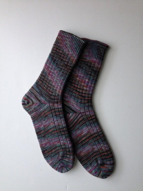Ladies Knitted Socks Fine Highland Wool Paints Potluck