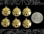 Sand Dollar Raw Brass Charms Set of Six  B-C115