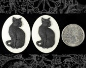 Black Cat Cameos - Two Black and White Cat 30x40mm Resin Cameos  CAM98