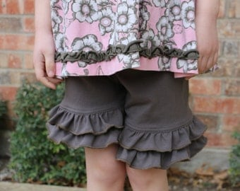 taupe gray knit double ruffle shorts shorties bloomers sizes 12m - 14 girls