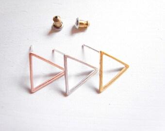 Triangle Stud Earrings, Geometric Post Earrings, Minimalist Earrings