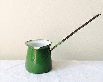 vintage green enamel Turkish coffee pot