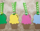 Party Favor Tags for Birthday or Baby Shower- pink green yellow blue- Quantity 12