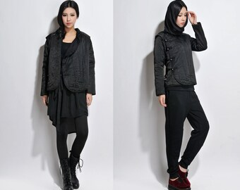 Cinese Style Padded Winter Coat with Handmade Silver Buttons/Lovely Linen Winter Jacket / 4 Colors/ RAMIES