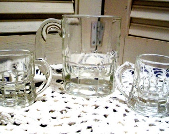 3 VINTAGE Miniature GLASS MUGS, 1 Larger Marked Hazel Atlas, 2 Smaller Marked Federal Glass, Charming Collectible Set